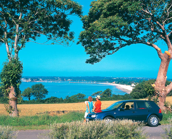 Car with view to sea