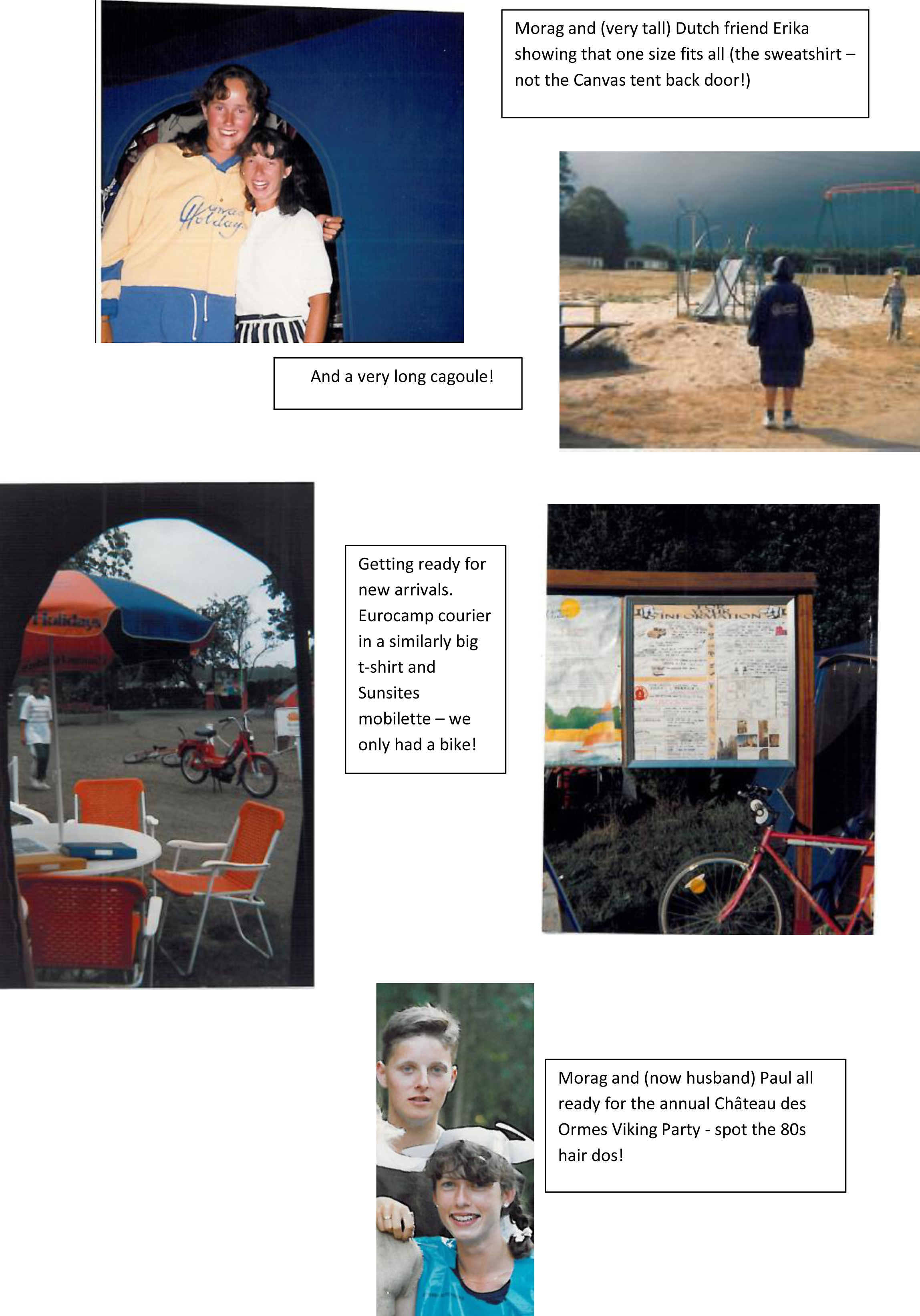 A selection of Morag's memories from her time under Canvas