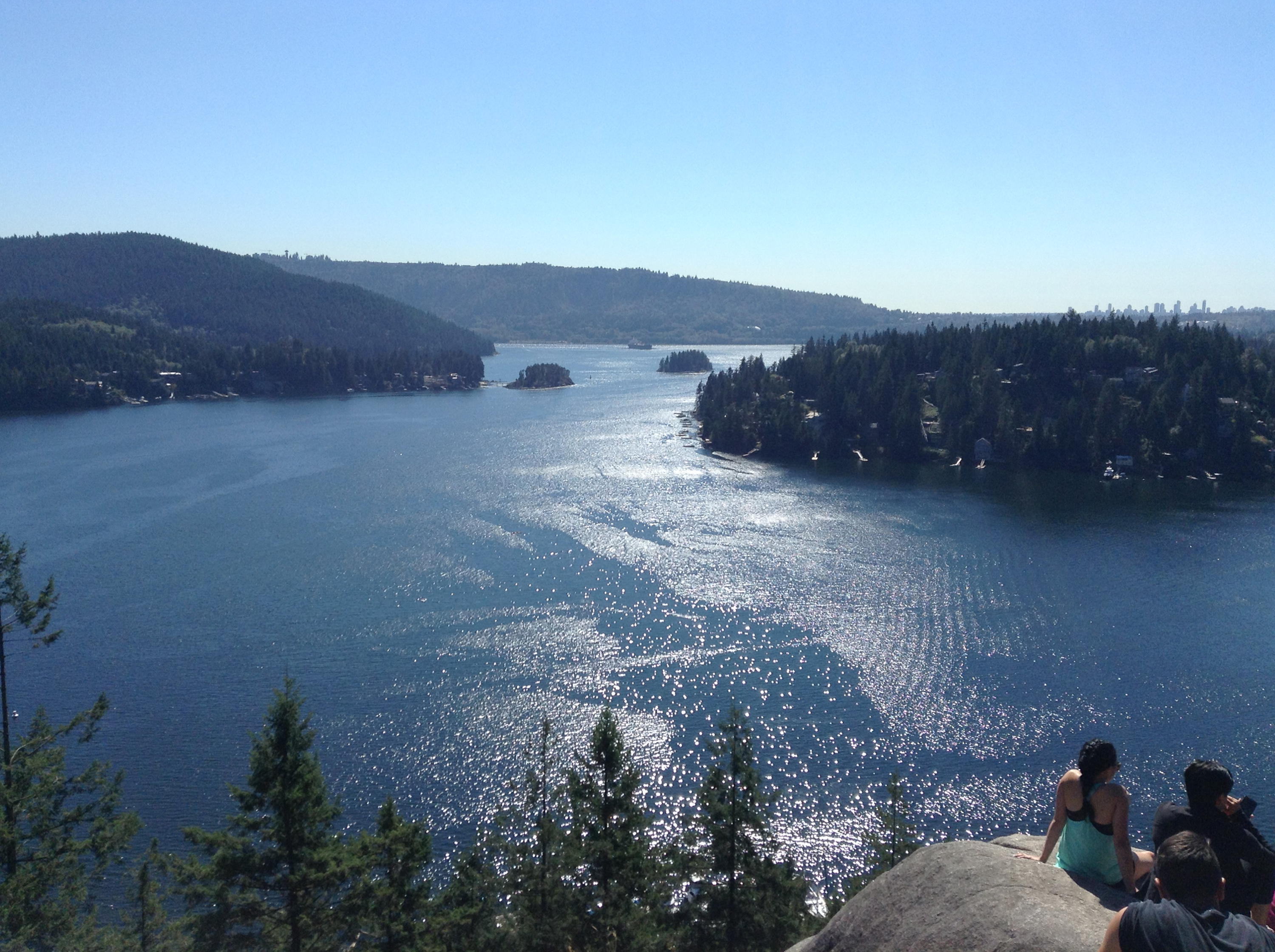 Taking in the view at the top of Deep Cove