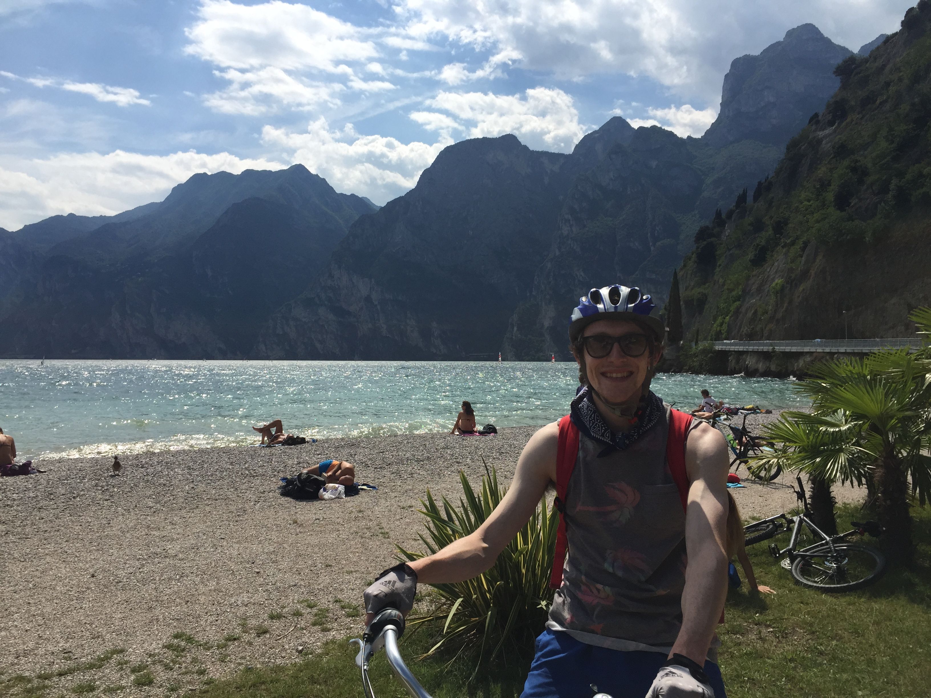Cycling along the beach at Riva del Garda