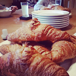 Home baked croissants for breakfast