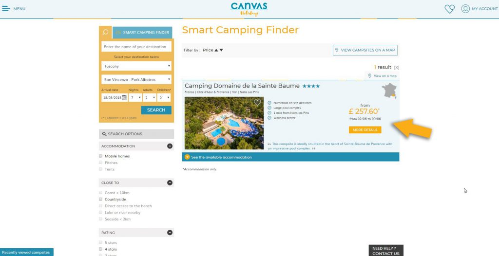 Step 5 of our Smart Camping Finder