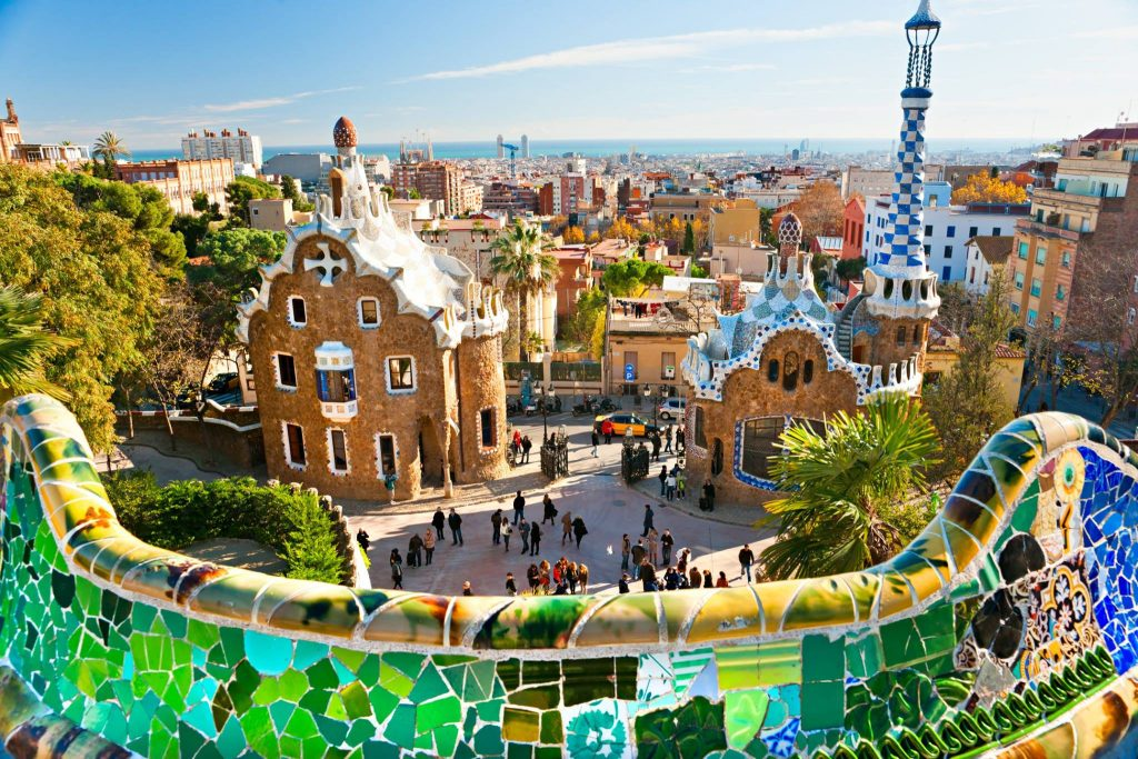 Park Güell in Barcelona near Camping Park Vilanova a Canvas Holidays site ideal for couples