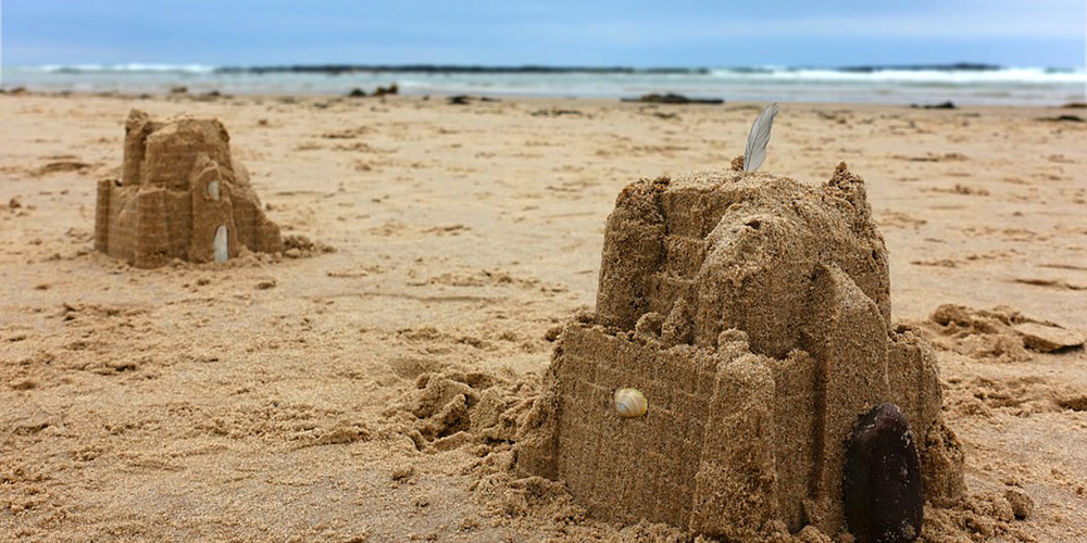 Sandcastle made by children