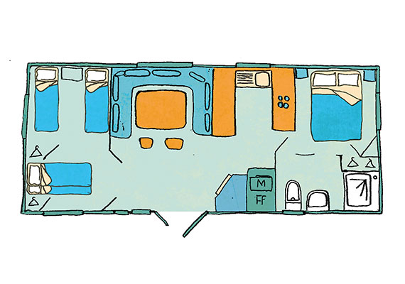 Relax Mobile home 3 bedroom a/c sleeps 8